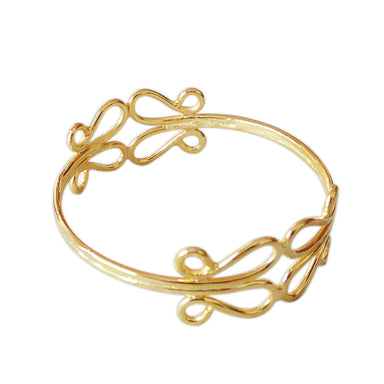 18K Gold Plated Plain Stackable Bangle For Birthday Gift