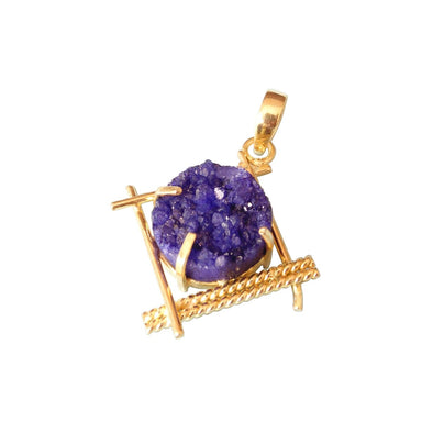 18K Gold Plated Prong Set Blue Druzy Gemstone Bridesmaids Pendant