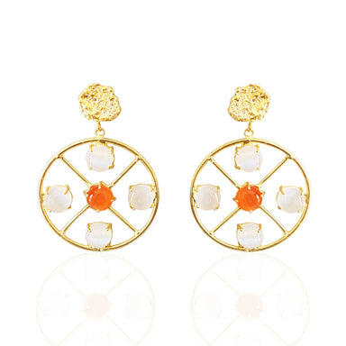 18K Gold Plated Prong Set Carnelian And Moonstone Round Circle Earrings - by Bhagat Jewels