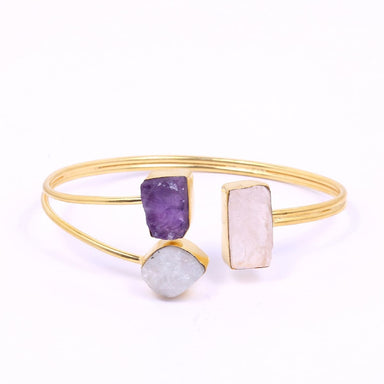 18K Gold Plated Rainbow Moonstone Amethyst And Rose Quartz Gemstone Birthday Gift Bangle