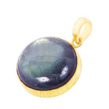 18K Gold Plated Round Labradorite Gemstone Drop Pendant