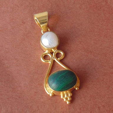 18K Gold Plated White Pearl And Green Malachite Gemstone Wedding Pendant