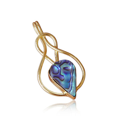 18K Gold Vermeil Abalone Shell Gemstone Holiday Gift Guide Pendant - by Bhagat Jewels
