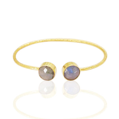 18K Gold Vermeil Round Shape Labradorite Faceted Gemstone Sleek Bangle
