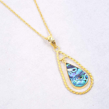 18K Matte Gold Plated Abalone Shell Gemstone Teardrop Pendant