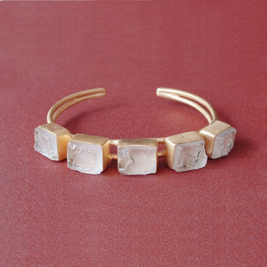 18K Matte Gold Plated Healing Crystal Quartz Gemstone Girlfriend Gift Bracelet - by Bhagat Jewels