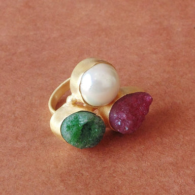 18K Matte Gold Plated Pearl And Druzy Quartz Gemstone Statement Ring - by Bhagat Jewels