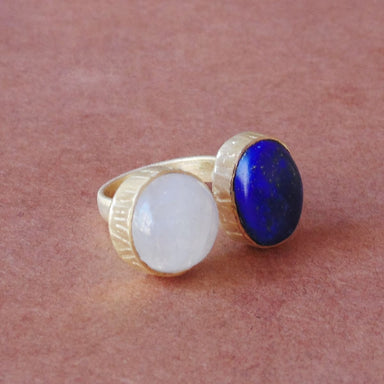 18K Matte Gold Plated Rainbow Moonstone And Lapis Lazuli Gemstone Simple Everyday Ring - by Bhagat Jewels