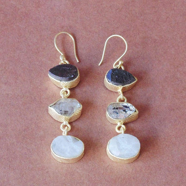 18K Matte Gold Plated Raw Garnet Rainbow Moonstone And Herkimer Diamond Birthstone Everyday Wear Dangling Earrings - by Bhagat Jewels
