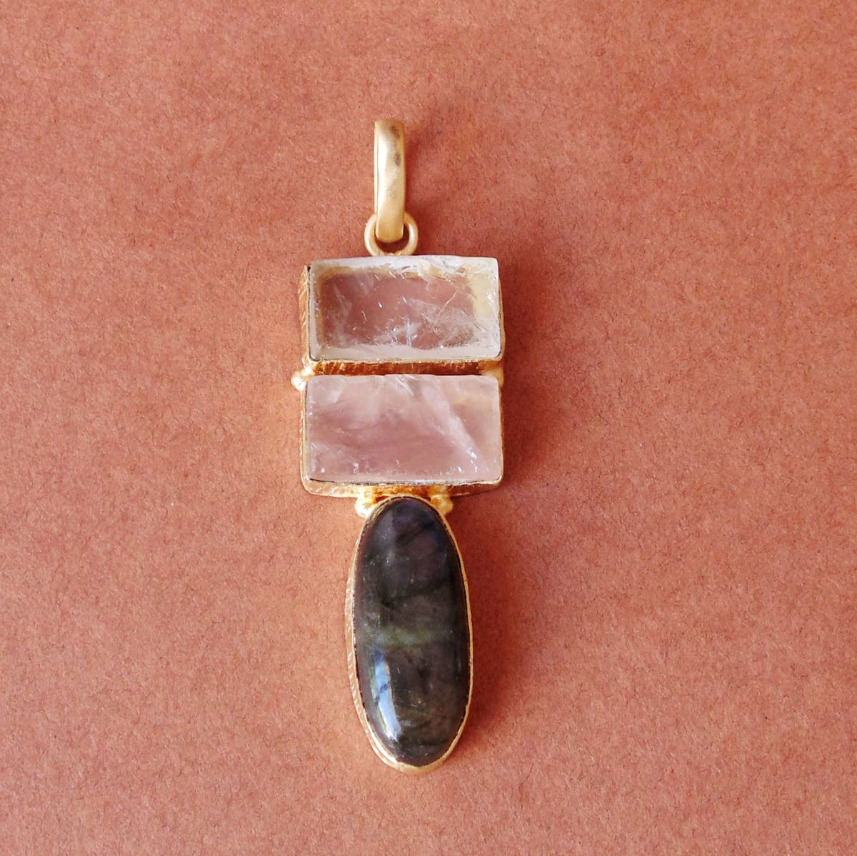 18K Matte Gold Vermeil Labradorite Rose Quartz And Crystal Gemstone Pendant - by Bhagat Jewels