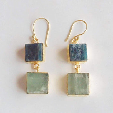 18K Yellow Gold Plated Mineral Aquamarine And Apatite Gemstone Dangle Earrings