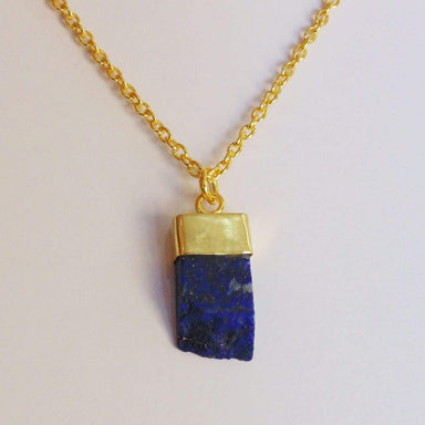 18K Yellow Gold Plated Raw Lapis Lazuli Gemstone Drop Pendant