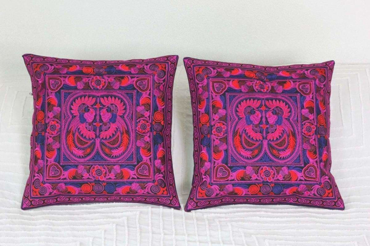 2 Hmong Thai Embroidered Hobo Boho Cushion Pillow Covers