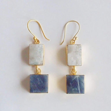 22K Gold Plated Raw Sapphire And Rainbow Moonstone Dangle Earrings