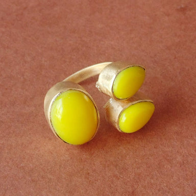 22K Gold Plated Yellow Aventurine Gemstone Cocktail Ring - by Bhagat Jewels