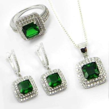 3 Pcs Green Zircon and White CZ 925 Sterling Silver Designer Jewelry Set