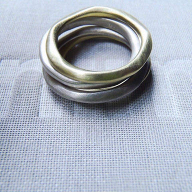 Rings 4 organic minimal rings sterling & brass stacking set! - by dikua