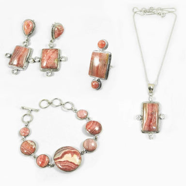 4 PCs Rhodochrosite Gemstone 925 Sterling Silver Designer Jewelry Set