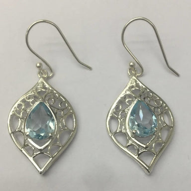 Earrings 7X10 Normal cut Blue Topaz Earring in Silver - by TJ GEMS