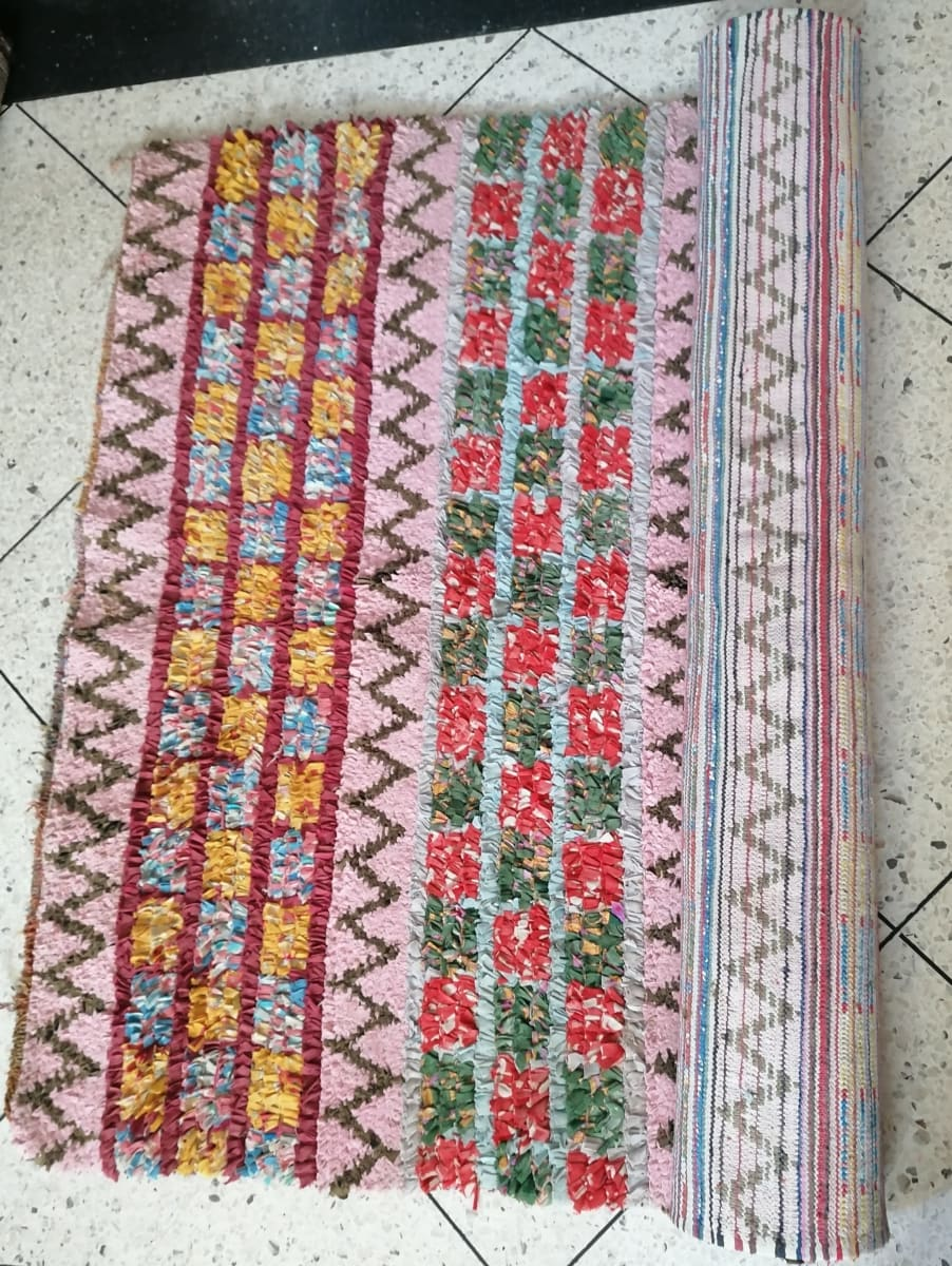 88x 46 Moroccan Rug Handmade Boucherouite Colorful Bohemian - by Home