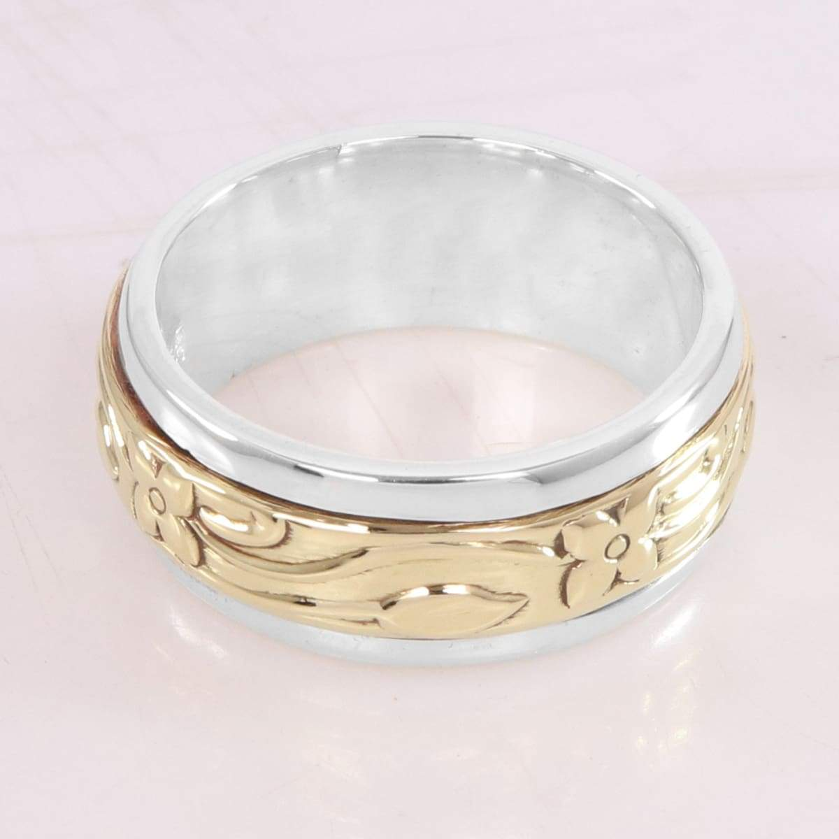 925 Silver Brass Spinner Ring Sterling Meditation Yoga Fidget Worry Anxiety Promise band