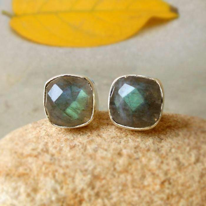 Earrings 925 Silver Labradorite Stud Earring Post Studs Faceted Blue Flashy Cushion stud Womens