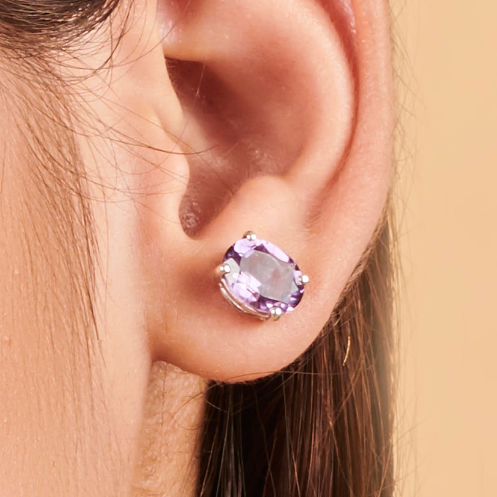 Earrings 925 Solid Silver Purple Amethyst Stud Earring Women Jewelry Birthday Gift Boho Post February Birthstone - by Finesilverstudio