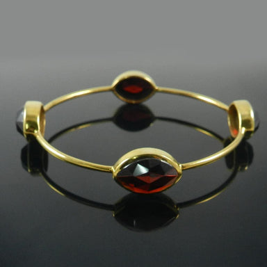 Bracelets 925 Sterling Silver Dark Citrine Hydro Gold Plated Bezel Bangle Jewelry