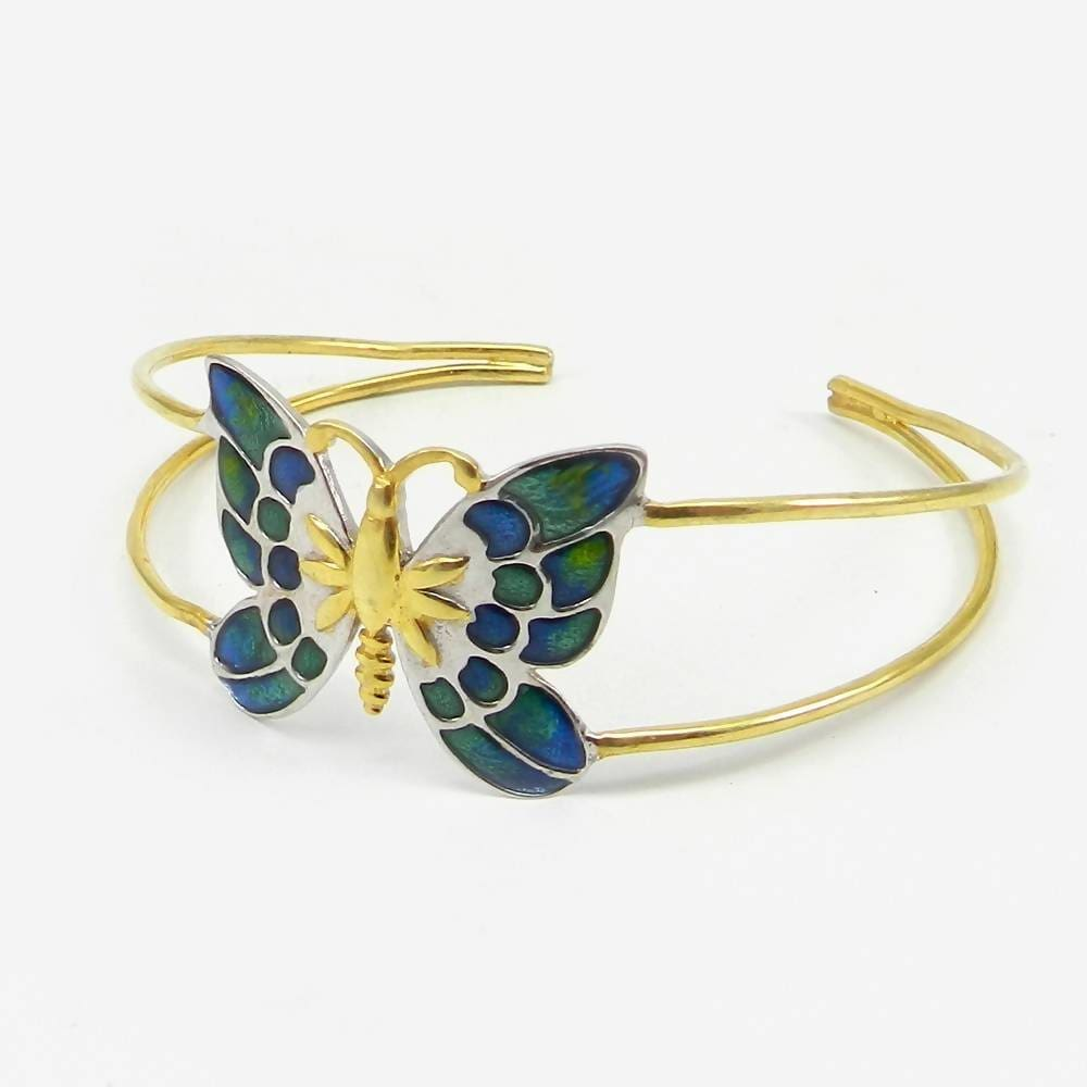 Bracelets 925 Sterling Silver Enamel Blue Butterfly Shape Adjustable Bracelet Jewelry