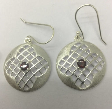 Earrings 925 Sterling Silver Filligiri Work Round Garnet Stone Earring - by TJ GEMS