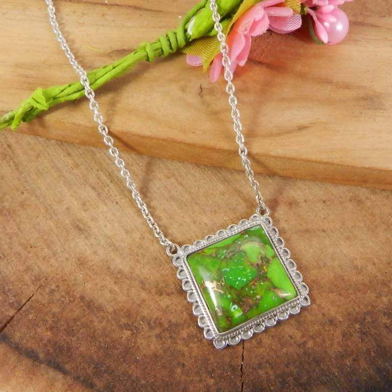 Necklaces 925 Sterling Silver Green Copper Turquoise Long Chain Necklace - Square Stone - Handmade Jewelry