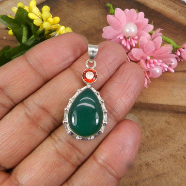 Necklaces 925 Sterling Silver Green Onyx and Red Hydro Bezel Set Pendant - Pear Shape - Stone - Handmade Gemstone Jewelry