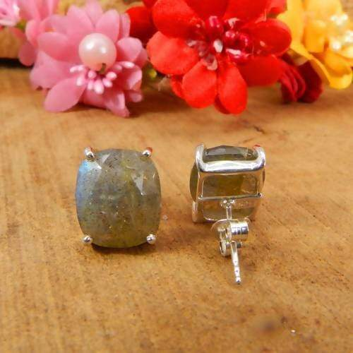 Earrings 925 Sterling Silver Handcrafted Labradorite Prong Set Stud Earring