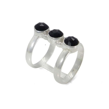 Rings 925 Sterling Silver Handmade Jewelry Black Onyx Double Bar Designer Ring