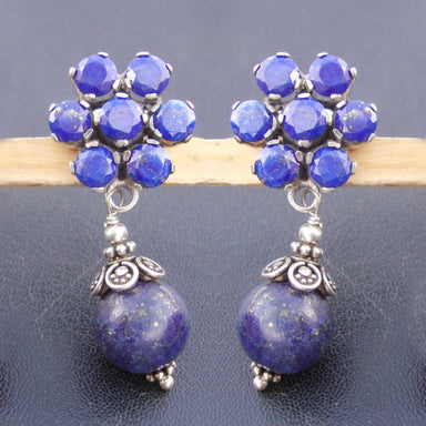 925 Sterling Silver Handmade Women Natural Lapis Lazuli & Sapphire dangle Earrings jewelry blue stone earring boho christmas gift - by