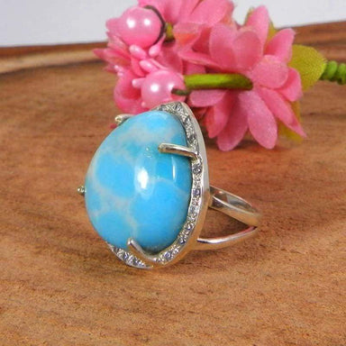 Rings 925 Sterling Silver Lab Created Larimar and CZ Prong Set Ring Jewelry