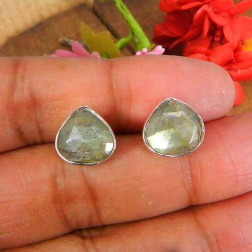 Earrings 925 Sterling Silver Labradorite Heart Shape Bezel Set Stud Earring
