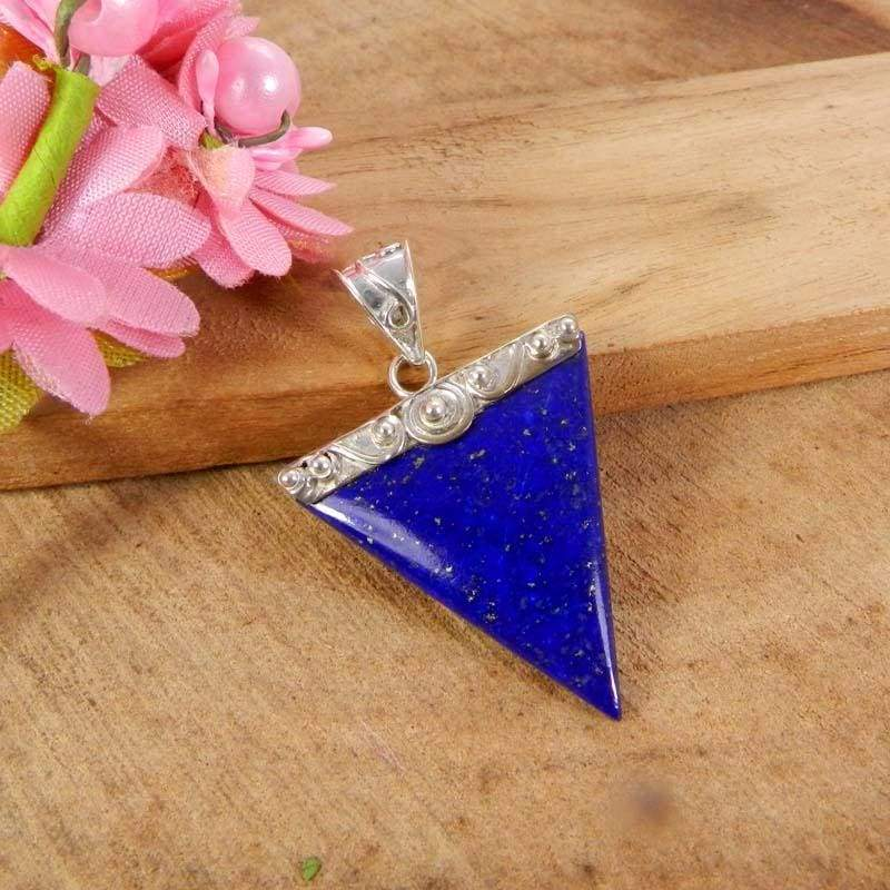 Necklaces 925 Sterling Silver Lapis Lazuli Triangle Bezel Set Pendant Jewelry