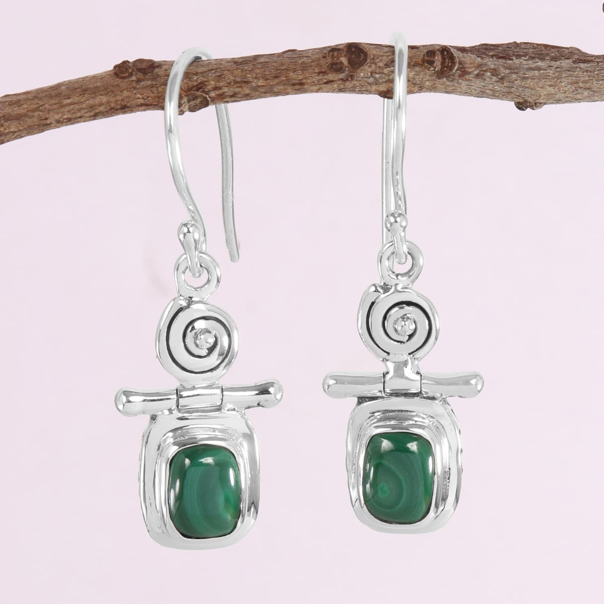 925 Sterling Silver Malachite Earring Vintage Style Gemstone Genuine Green Handmade Boho Women's Dangler