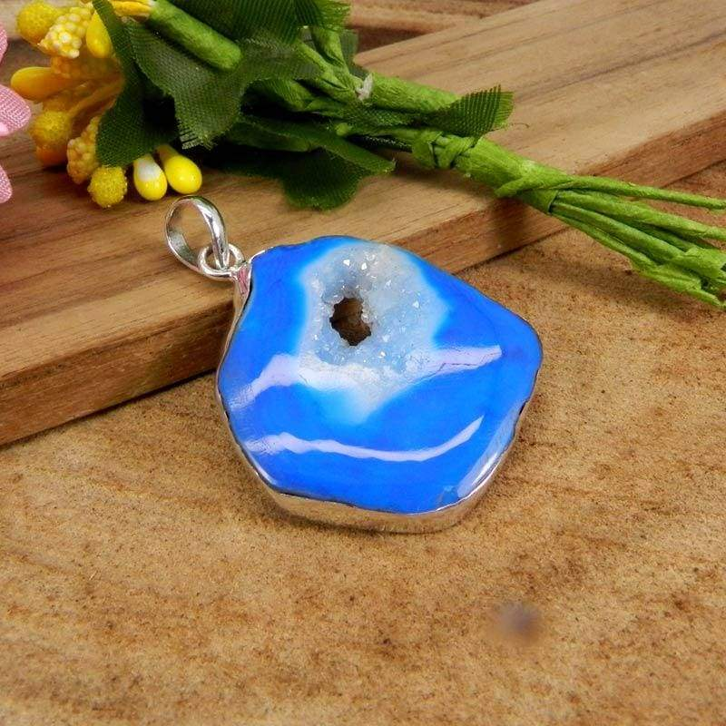 Necklaces 925 Sterling Silver Natural Blue Window Druzy Bezel Set Pendant Jewelry