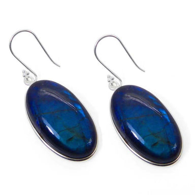 Earrings 925 Sterling Silver Natural Fiery Labradorite Dangle Bezel Set Earring