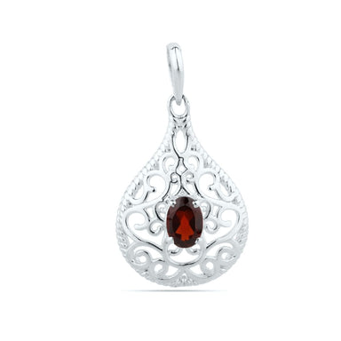 925 Sterling Silver - Natural Garnet Pendant - Jewelry - January Birthstone - Gemstone - 5 X 7 Oval Cut