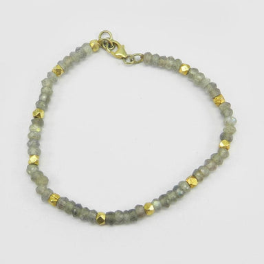 Bracelets 925 Sterling Silver Natural Labradorite Beads Stretch Bracelet Jewelry