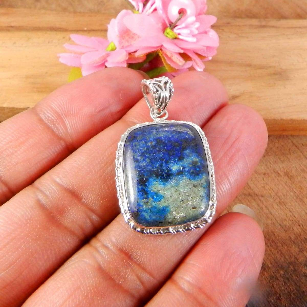Necklaces 925 Sterling Silver Pendant Natural Azurite Jewelry Rectangle Cushion Bezel Set Handmade