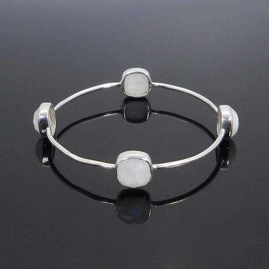 Bracelets 925 Sterling Silver Rainbow Moonstone Bezel Set Bangle Bracelet