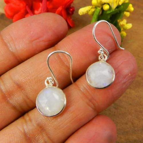 Earrings 925 Sterling Silver Rainbow Moonstone Gemstone Handmade Earring