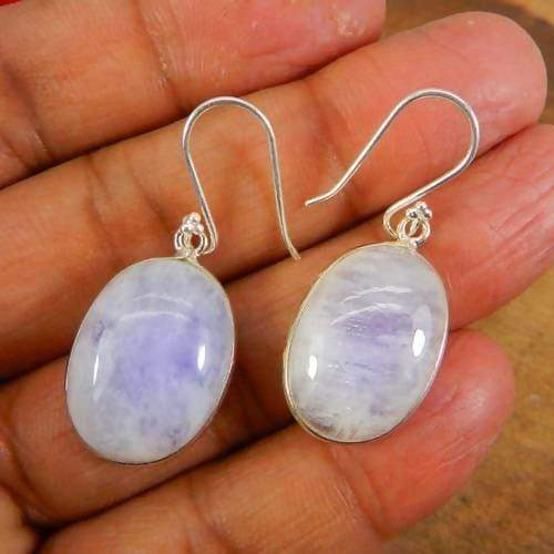 Earrings 925 Sterling Silver Rainbow Moonstone Handmade Bezel Dangle