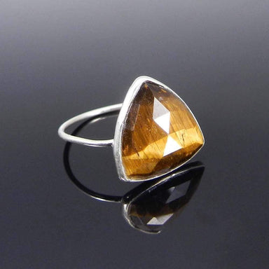 Rings 925 Sterling Silver Tiger Eye trillion gemstone bezel ring Jewelry