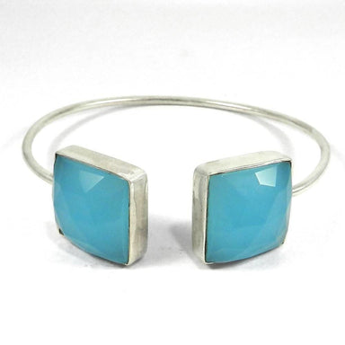 Bracelets 925 Sterling Silver Tulia Aqua Chalcedony Adjustable Bezel Bangle Jewelry
