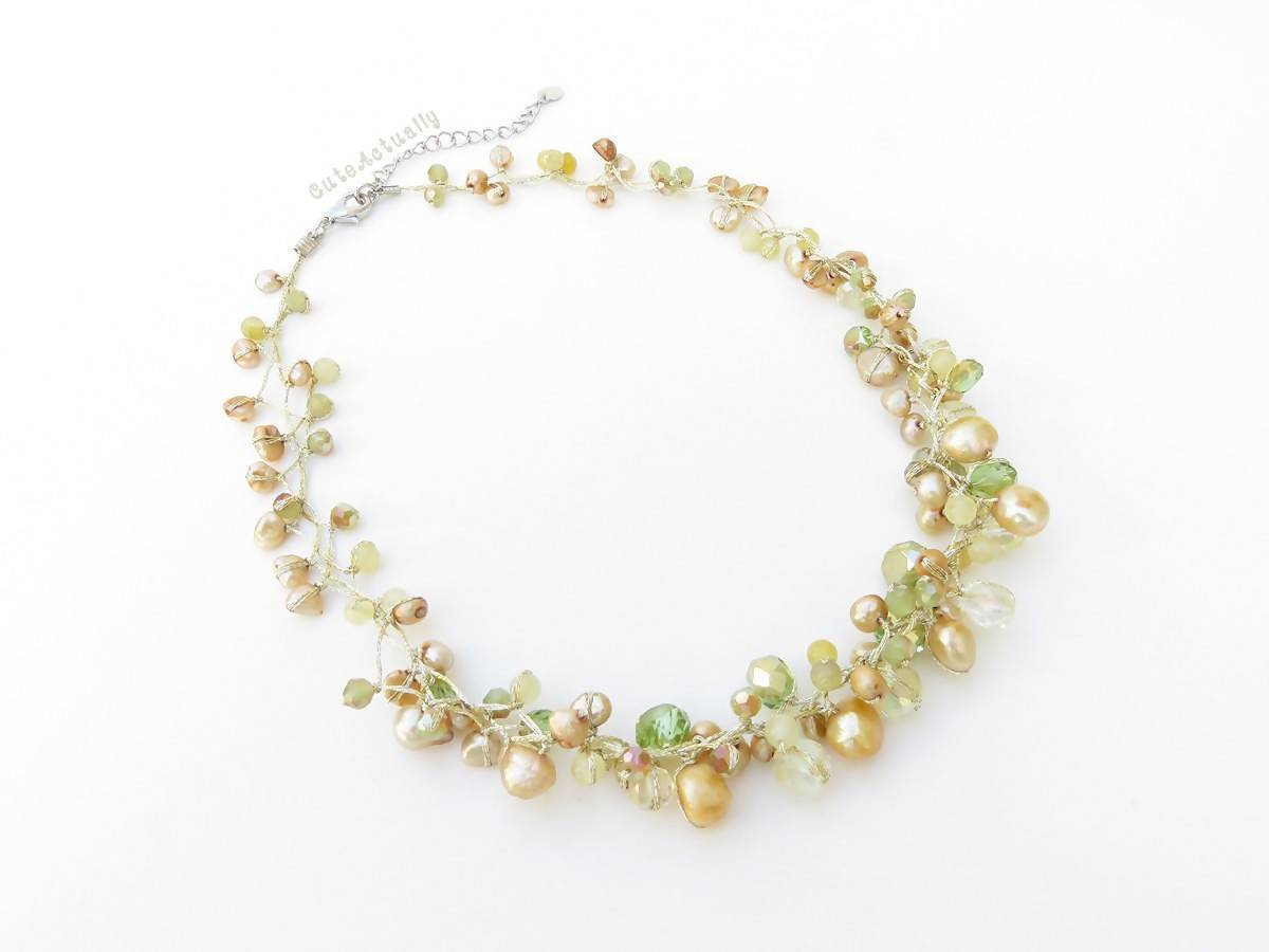 Necklaces Green gold necklace with freshwater pearl crystal and stone on silk thread yellow short